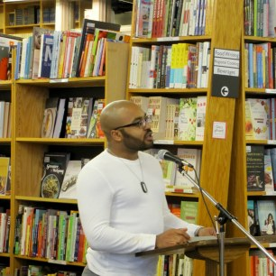 Nonfiction writer Jordan Thomas reads from a new essay. (Photo by grey doolin / greyspacephotography.net)