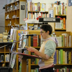 Poet Julia Marley reads poems from her thesis manuscript. (Photo by grey doolin / greyspacephotography.net)